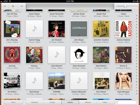 Music app on iOS 5 for iPad