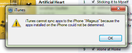 iTunes cannot sync apps to the iPhone because the apps installed on the iPhone could not be determined.